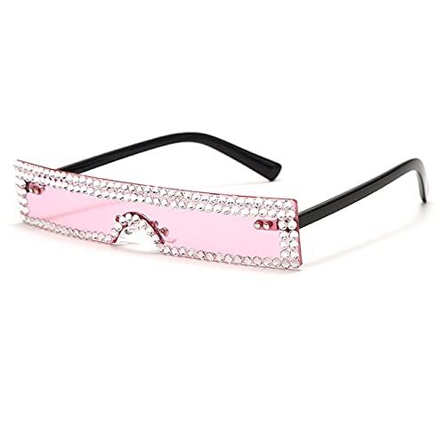 Rectángulo Gafas de Sol Mujer Moda de Lujo Rosa Rosa Claro Claro Pequeña Lente Personalidad Gafas de Sol Trasas UV400 (Color : 9, Size : G)