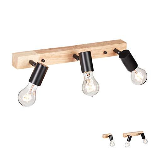 Relaxdays Wandlampe Holz, Retro Lampe für Wand & Decke, E27, 3 Strahler, Metall, Vintage, 7,5x44,5x13 cm, schwarz/natur