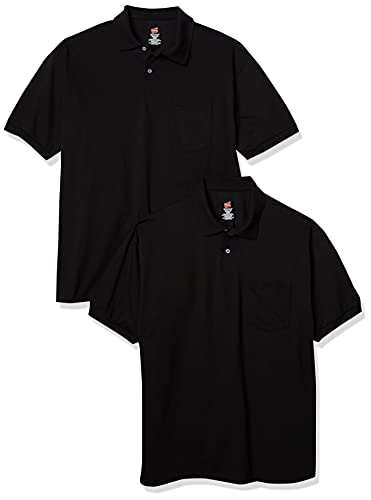 3) Hanes Men's Jersey Pocket Polo (Pack of 2)