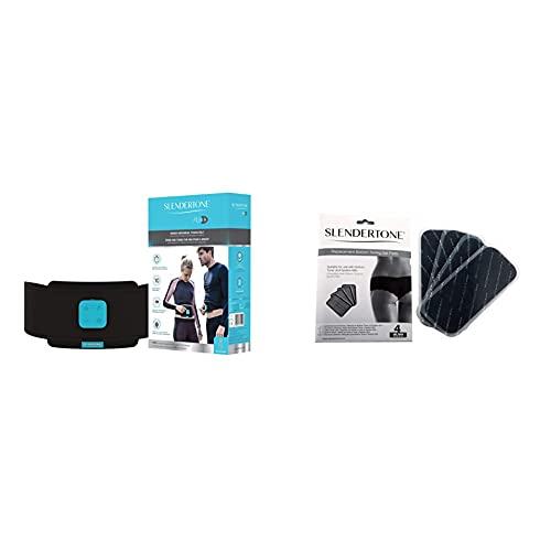 Slendertone ABS8, Ceinture de Tonification Abdominale Mixte Noir 61-117 cm & Electrodes adhésives de rechange pour fessier