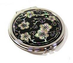 Type de Mère de Pearl Double miroir à main, Compact, portable Noir cherryblossom