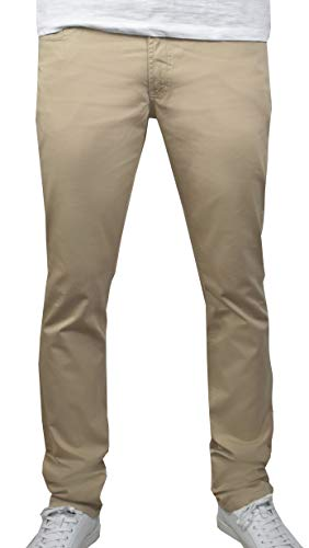 1stAmerican Elegante Pantalones para Hombre 100% Algodon Twill enzime Wash - de 5 Bolsillos Estilo Jeans - Regular fit Color sólido