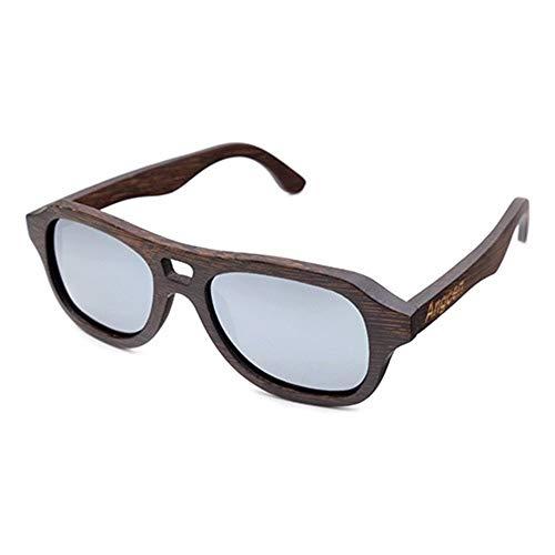 SWNN Sunglasses Gafas De Sol Polarizadas Recubiertas De Bambú, Moda, Gafas De Hombre Al Aire Libre, Una Variedad De Lentes De Color con Protección UV400 (Color : Silver)