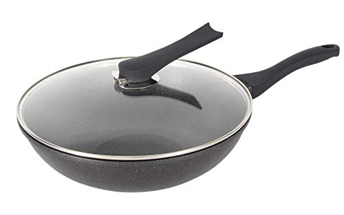 Haufson 30cm Die cast Wok with Standable Lid   Works with All Major Hobs   Natural PFOA Free Non-Stick Stirfry Pan   Black