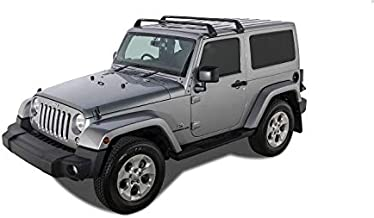 Rhino Rack Aero Bar 4WD SUV Roof Racks | Gutter Mount Base Rack for Jeep Wrangler JK/JL 2 Door Hard Top 2011-2015 (2 Set) in Black