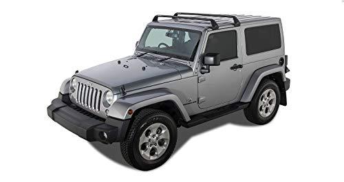 Rhino Rack Aero Bar 4WD SUV Roof Racks | Gutter Mount Base Rack for Jeep Wrangler JK/JL 2 Door Hard Top 2011-2015 (2 Set) in Black