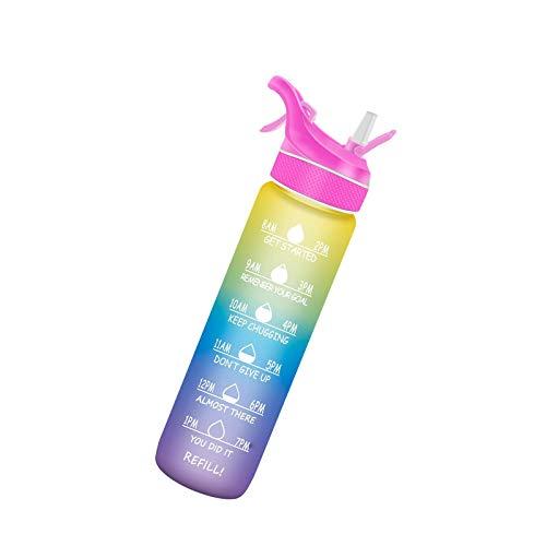 Litulituhallo - Borraccia sportiva con nebulizzatore spray per idratazione all'aperto, 1 l, con indicatore del tempo