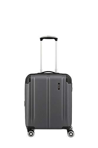 Travelite 4-Rad Handgepäck Koffer mit Dehnfalte erfüllt IATA Bordgepäckmaß, Gepäck Serie CITY: Robuster Hartschalen Trolley mit kratzfester Oberfläche, 073044-04, 55 cm, 40 Liter, anthrazit (grau)