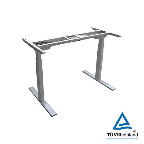 ZINNZ SELECTED Höhenverstellbarer Schreibtisch Elektischer Stehtisch höhenverstellbares Tischgestell 3-Fach Teleskop, mit 3-Profil-Memory-Steuerung 120kg (Weiß)