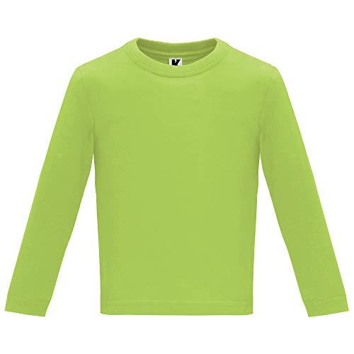 Camiseta de Colores con Manga Larga para Bebés - Prenda de algodón 100%, cómoda, Suave, cálida y Tacto Agradable (Verde, 24M)