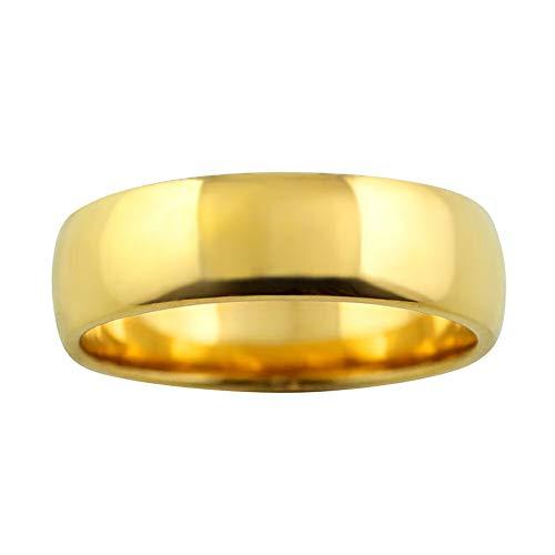 [ジュエリーアイ] 甲丸 指輪 6ミリ幅 リング レディース シンプル 結婚指輪 マリッジリング ブライダル 単品 日本製 イエローゴールドK18 K18YG 6号