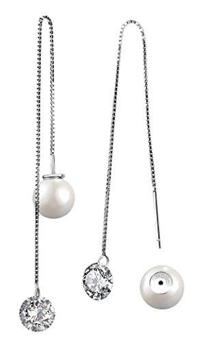 Orecchini pendenti in argento Sterling 925realizzati sapientemente con perle d'acqua dolce, da donna