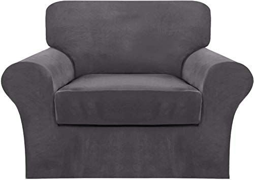 WLVG Funda de sofá de Terciopelo con 2 Fundas de cojín Independientes, Protector de Muebles Antideslizante de Repuesto de Funda de sofá de Felpa Ultra Suave elástica con Fondo elástico (Gris, 1 p