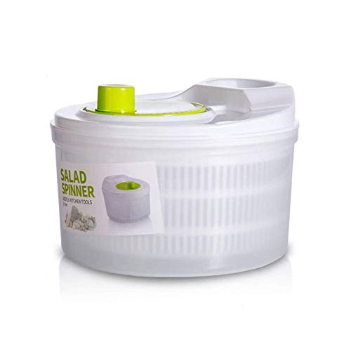 Ensaladera, centrifugadora de lechuga Secadora de verduras Secadora, fácil de limpiar, grande 5L, protege las manos, deshidratación centrífuga de alta velocidad, fácil de...