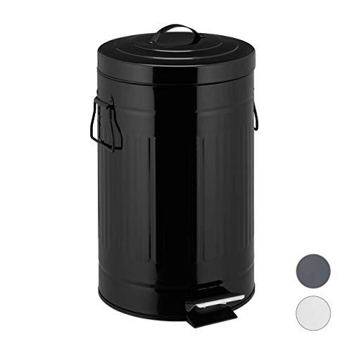 Relaxdays Cubo Basura Pedal Retro con Recipiente Interior para Baño y Cocina, Acero Inoxidable y Plástico, Negro, 12 L