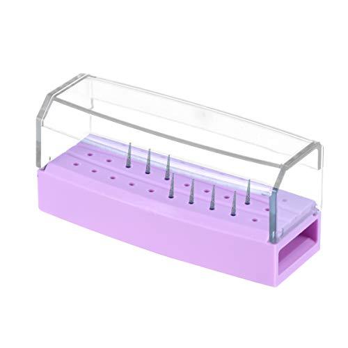 HEALLILY 30 Löcher Dental Bur Block Halter Diamant Bohrer Halter Block Desinfektions Box für Mundpflege Werkzeuge (Lila)