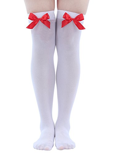 Just for Fun and Gifts Bas ornés de nœuds Blanc avec nœud rouge Accessoire de déguisement