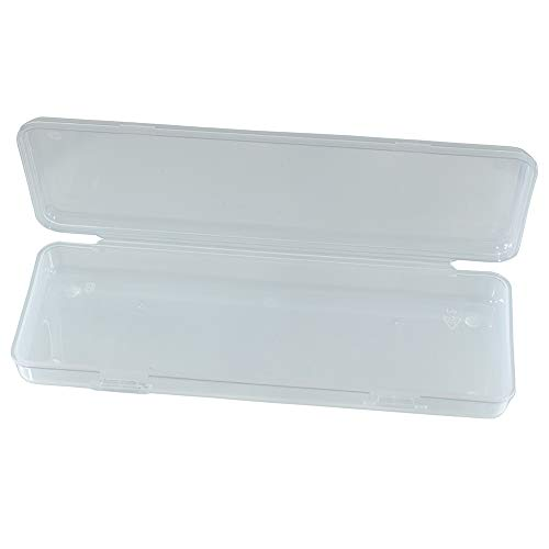 Craft County Clear White Plastic Rectangular Pencil Box – 3 Inches Long X 8 Inches Wide – Empty – Store Pencils, Scissors, Needles, Crochet Hooks, and More