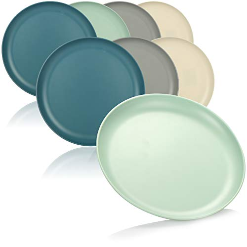 com-four® 8x Teller - Kunststoffteller aus Melamin - wiederverwendbare Multifunktionsteller in verschiedenen Farben - bruchfest [Auswahl variiert] (21cm - 8 Stück)