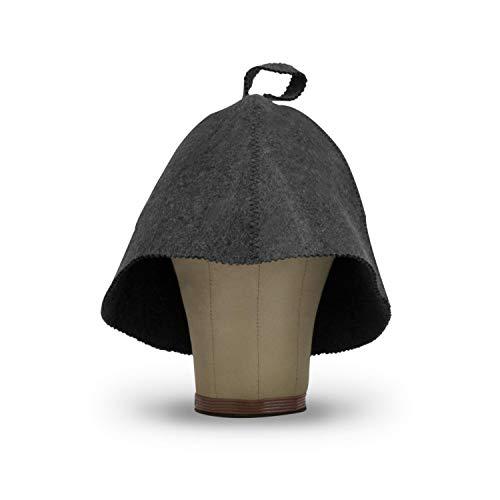 LoFelt® Saunahut - inkl. Sauna-Ratgeber - Farbe grau - 100% Baumwolle - Filz Saunamütze Saunakappe