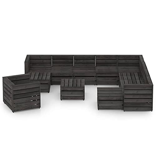 Tidyard Set de Muebles de jardín 12 pzas Madera de Pino impregnada Gris Sofás Palets Conjuntos Sofa Exterior Patio