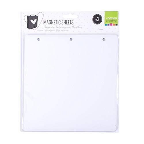 Vaessen Creative 600203-004 3 Hojas Magnéticas Blancas para Organizar y Almacenar Carpetas de Embossing, Plantillas de Corte, Adornos y Otros Suministros de Manualidades, 20 cm x 20 cm