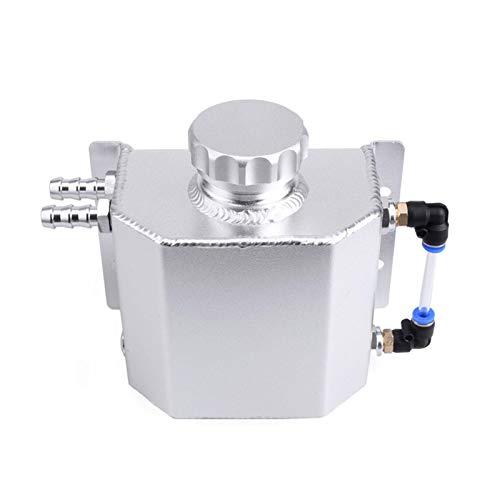 Hollewe Tanque De Desbordamiento del Refrigerante del Radiador Depósito De Recuperación De La Botella Recipiente JDM De Aluminio Radiador De Agua Universal De 1L - Plata/Negro