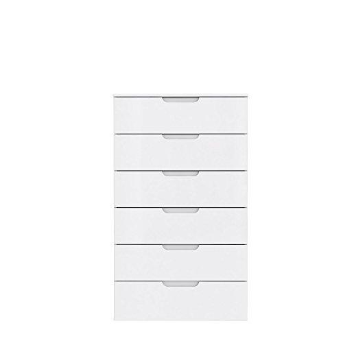 FORTE Moderne Kommode mit Hochglanzfront, Holz, Weiß Hochglanz, 70.3 x 34.1 x 116.9 cm