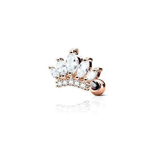 Kultpiercing - Helix Tragus Piercing Krone mit Zirkoniakristallen - Ear Cartilage Piercing-Stecker Barbell Studs - Rose Gold