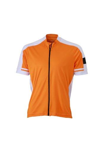 James & Nicholson Trikot Men's Bike-T Full Zip Camisa, Hombre, Naranja, S