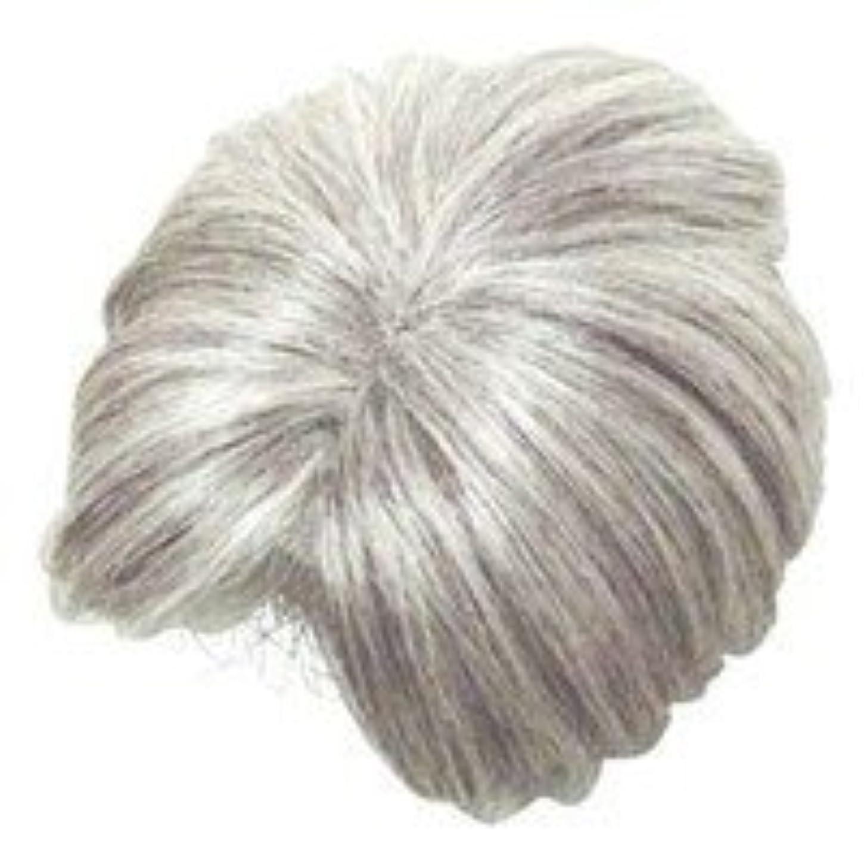 商業の乳白色離れてモアヘアピース部分かつら (白髪80パーセント)