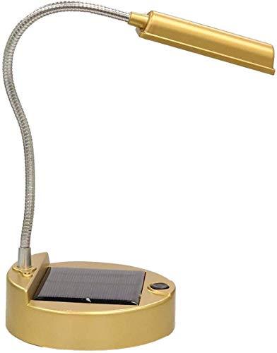 Lampe de Table Solaire,KINGCOO Portable Flexible 4-LED Mini USB Rechargeable Lampe Solaires Lumières Lecture Livre Lecture Éclairage PC Lampe de Bureau (Or)