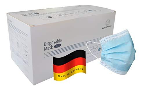 50 x Medizinischer Mundschutz, medizinischer Mund & Nasenschutz, 3-lagig, Einwegmaske, Zertifiziert nach DIN 14683
