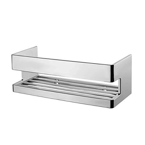 VMbathrooms Premium Duschkorb in hochwertiger Chrom Optik zum Schrauben und Kleben/Moderne Duschablage die ideale Shampoo Halterung für Deine Dusche
