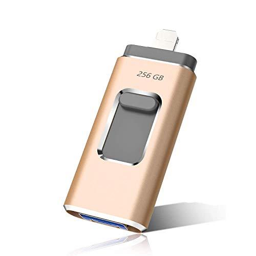 maxineer USB Stick 256GB kompatibel mit Phone Android 3-in-1 USB-Stick Speicherstick USB-Flash-Laufwerk USB 3.0 Externer Speicher Speichererweiterung kompatibel mit Phone Pod Smartphone/PC