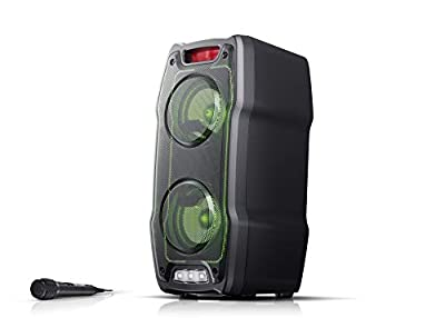 SHARP PS-929 180W High Power Portable Party Speaker Hi-Fi System with Built in Rechargeable Battery, Flashing Disco Lights & Strobe, TWS, Bluetooth, USB, Aux & Microphone – Black from Sharp