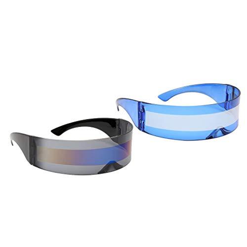 F Fityle 2X Divertidas Gafas de Sol con Visera de Envoltura Alienígena para Cosplay, Gafas con Espejo de Halloween