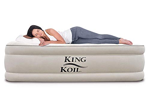 King Koil California King Luxury Raised Air Mattress with Built-in 120V AC High Capacity...