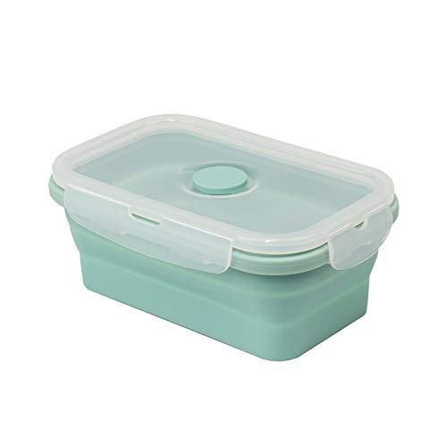CXYY Bento Box,Fiambrera De Acero Inoxidable,La Lonchera Plegable De Silicona De Grado Alimenticio Es Adecuada para Calentar La Lonchera En Microondas,Mint Green,1200ML