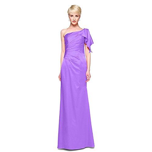 kekafu A-Line Jewel Hals Knöchel Länge Spitze Satin Wedding Dress mit Zierblenden an der Spitze von LAN TING Braut, Flieder, US 16 / UK 20 / EU 46