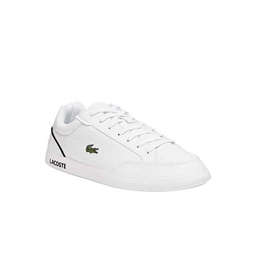 Lacoste Zapatillas bajas para hombre Graduate Cap 0721 1 SMA, zapatos bajos para hombre, color Blanco, talla 42 EU