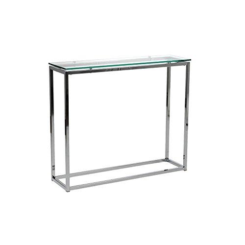 Euro Style Sandor Clear Glass Top Console Table, Chromed Steel Base