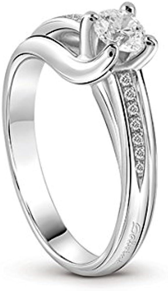 salvini anello con solitario centrale e pavè sul gambo in oro bianco 81067464