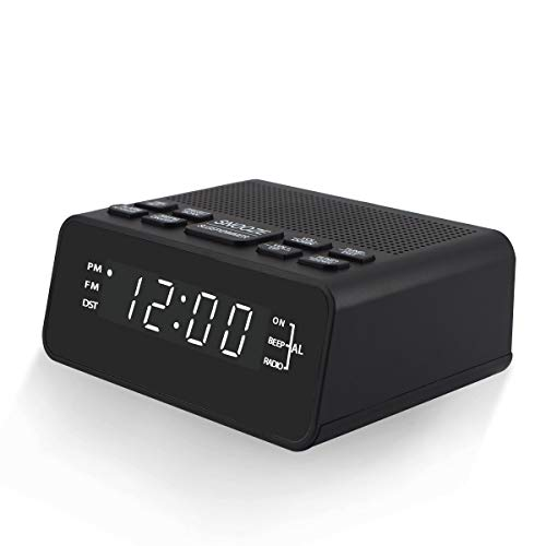 """Alarm Clock Radio, AM FM Radio with 12/24H, DST, Sleep Timer, Preset and Dimmer, Digital Clocks for Bedroom, Plug in Powered, 0.6"""" White LED Display"""