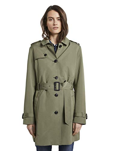 TOM TAILOR Damen Jacken Wasserabweisender Trenchcoat Tree Moss Green,M
