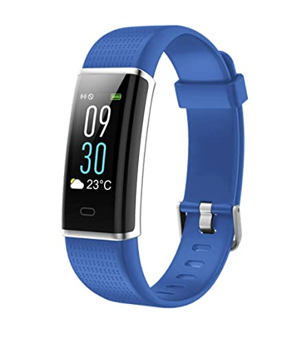 CNZZY Reloj inteligente LCD Smart Fitness Tracker Band Support Sport Track Frecuencia cardíaca Multi-sport Modo SMS Recordatorio Pulsera, Azul Gris (Azul)