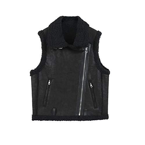 SKK Parka sin Mangas Vest Chaleco Damas Invierno Cálido Chaleco Grueso Gilet Coat Bolsos Delanteros para Mujer con Detalles Cremallera para Mayor Calentar (Color : Black, tamaño : Medium)
