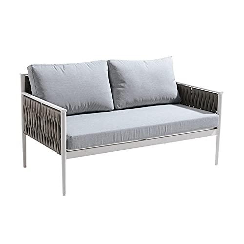 Muebletmoi - Sofá bajo de 2 plazas de jardín de aluminio gris y textileno trenzado gris – Jiji