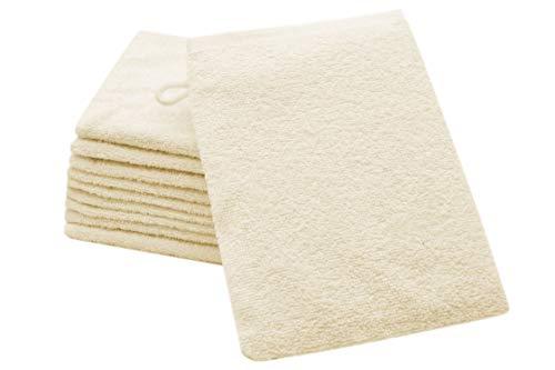 ZOLLNER 10 Manoplas de baño, Color Crema, algodón, 16x21 cm
