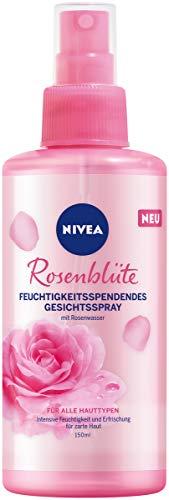 NIVEA Rosenblüte Feuchtigkeitsspendendes Gesichtsspray (150 ml), Feuchtigkeitspflege für zarte Haut, Gesichtspflege für einen wohltuenden Frischekick mit Rosenwasser